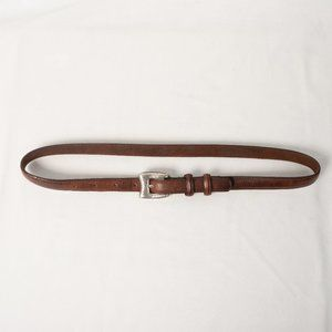 JUSTIN BOOTS Brown Leather Belt Silver Buckle 30